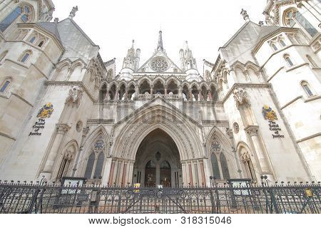 London England - June 2, 2019: Royal Courts Of Justice London Uk