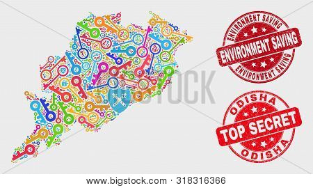 Protection Odisha State Map And Seals. Red Rounded Top Secret And Environment Saving Grunge Seals. C
