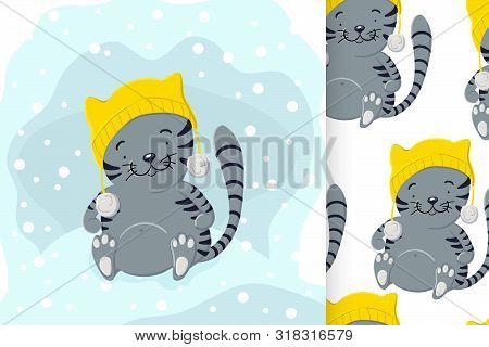 Cute Kitten In Winter Hat Playing In The Snow And Seamless Pattern