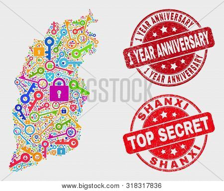 Secure Shanxi Province Map And Seal Stamps. Red Round Top Secret And 1 Year Anniversary Grunge Seal