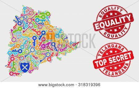 Firewall Telangana State Map And Seal Stamps. Red Rounded Top Secret And Equality Distress Seal Stam