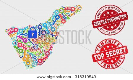 Privacy Tenerife Map And Seal Stamps. Red Rounded Top Secret And Erectile Dysfunction Grunge Seal St