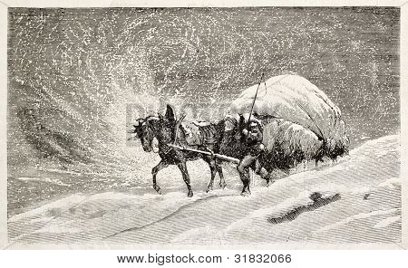 Snowstorm old illustration. Created by Girardet, published on L'Illustration, Journal Universel, Paris, 1863