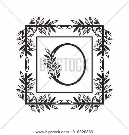 Letter O Of The Alphabet With Vintage Style Frame Vector Illustration Design