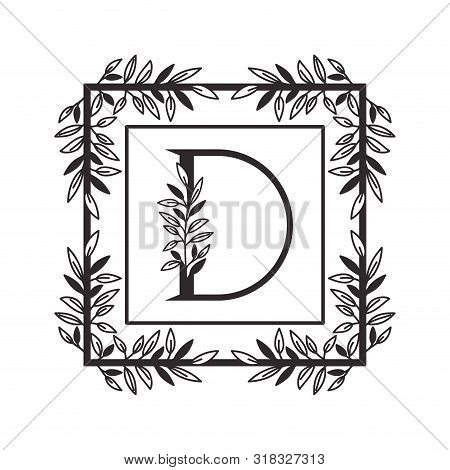 Letter D Of The Alphabet With Vintage Style Frame Vector Illustration Design