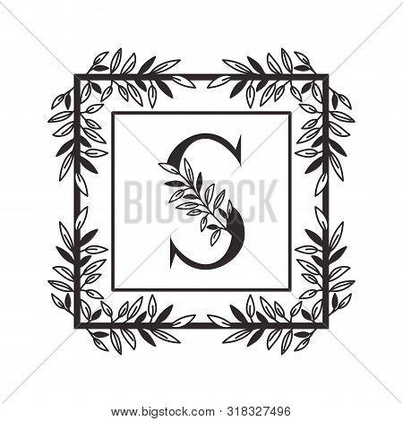 Letter S Of The Alphabet With Vintage Style Frame Vector Illustration Design