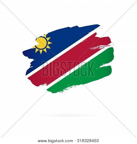 Flag Of Namibia. Vector Illustration On A White Background. Brush Strokes Are Drawn By Hand.