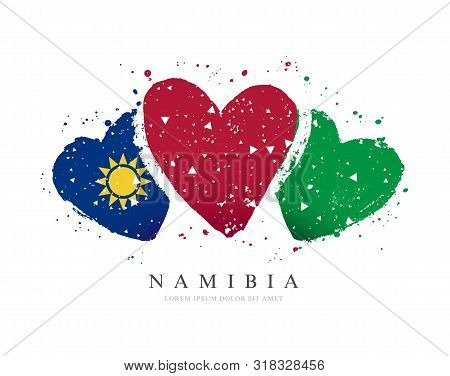 Namibian Flag In The Form Of Three Hearts. Vector Illustration On A White Background. Brush Strokes