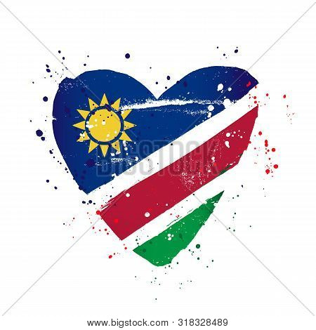 Namibian Flag In The Form Of A Big Heart. Vector Illustration On A White Background. Brush Strokes A