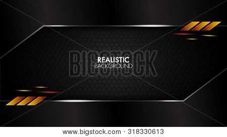 Black Abstract Mat Geometric Background Elegant Futuristic Glossy Light With Grid Line.modern Shape