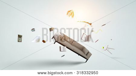 Office objects flying isolated on white