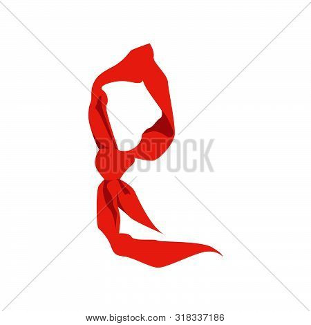 Set Of Flat Red Scarves Vector For Chinese Young Pioneer To Wear When New Semester Begin, Red Scarf