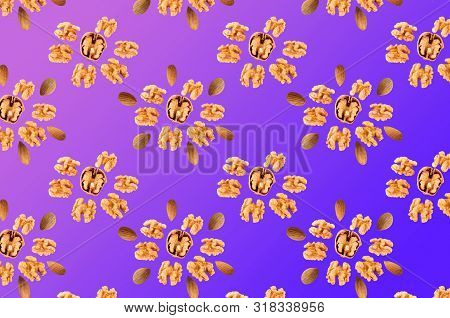 Trendy Texture Done With Walnuts In Violet And Blue Colors Background