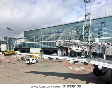 FRANKFURT, GERMANY - AUGUST 18, 2019: A terminal building at Frankfurt International Airport in Frankfurt, Germany.