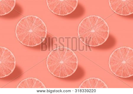 Vivid Fruit Pattern Of Fresh Citrius On Colourful Background