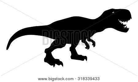 T Rex Dinosaur, Dangerous Extinct Predator Silhouette Illustration