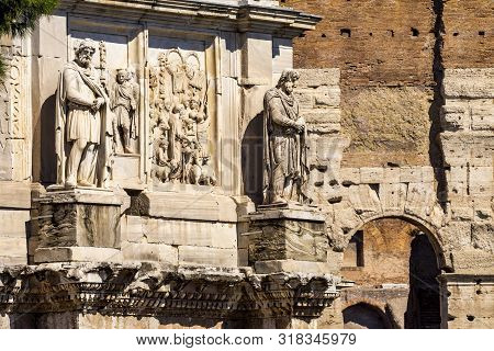 Ancient Constantine Arch Roman Colosseum Rome Italy Colosseum Built In 72 Ad By Emperor Vespacian. C