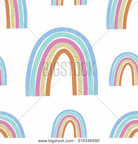 poster of Cute hand drawn rainbow, childish print. Best for t-shirt, poster, wrapping paper, decoration. Vector illustration in scandinavian style.