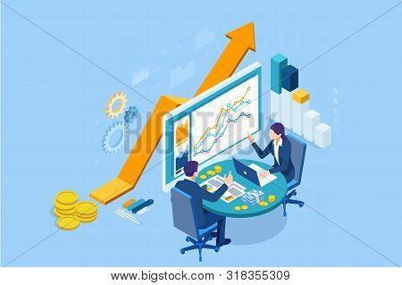 Isometric Web Business Concept Of Financial Administration, Accounting, Analysis, Audit, Financial R