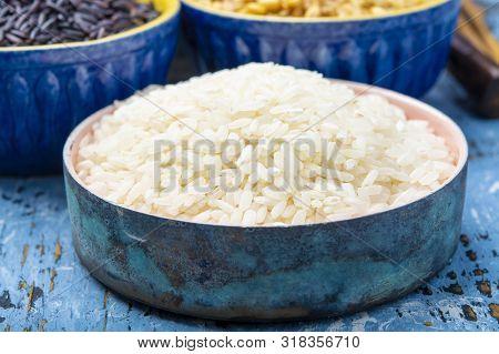 White Italian Arborio Rice Used For Making Risotto Dish