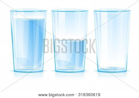 Set Of Three Glasses Isolated, One Glass Of Clean Blue Fresh Water Isolated, Glass Half Filled With