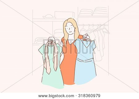Shopping, Fashion, Dress, Clothes Concept. A Young Girl Chooses, Measures, Sells Or Buys Fashion Dre
