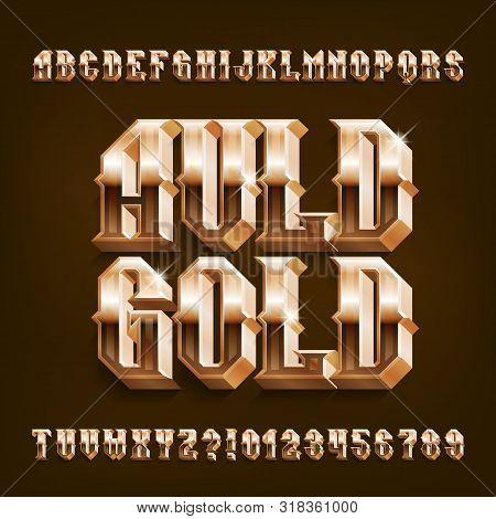 Auld Gold 3D alphabet font. Vintage golden letters and number. Stock vector typescript for your design. poster