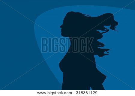 Wind In Hair Empowered Woman Profile Silhouette