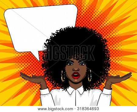 Vector Pop Art Illustration Surprised Woman Face With Open Mouth And Hands Up. African American Woma