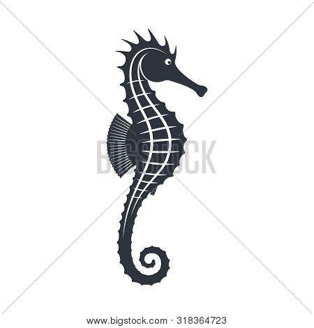 Seahorse Graphic Icon. Seahorse Black Sign Isolated On White Background. Sea Life Symbol. Tattoo. Lo