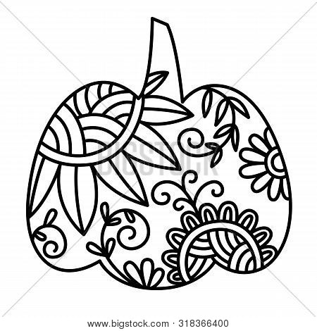 Swirly Patterned Decorative Pumpkin Clip Art. Vector Hand Drawn Autumn Thanksgiving Doodle Element S