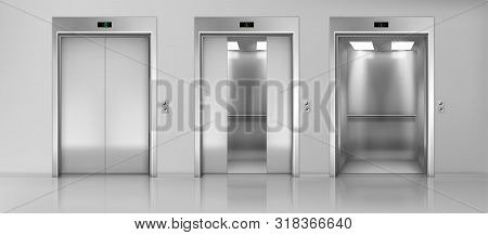 Modern Passenger Or Cargo Elevators, Lifts With Closed, Opened And Half Closed, Metallic Cabins Door