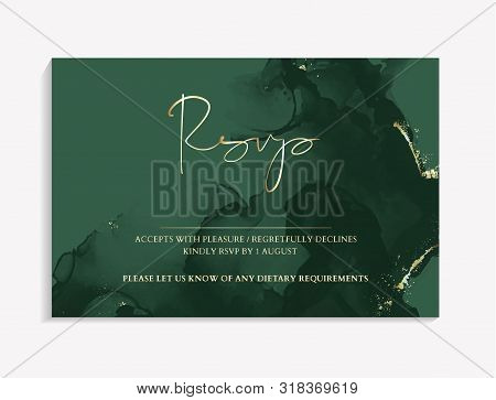 Wedding Rsvp Template In Green Color. Vector Invitation Cards With Emerald Marble Texture Background