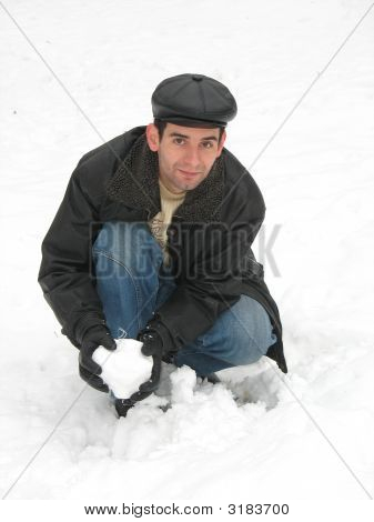 Young Man On Snow