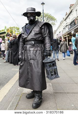 Llandudno, North Wales- 29th April 2017: Man In All Leather Fancy Dress Wearing Leather Mask, , Leat