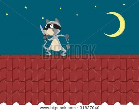 Illustration of a cat on a roof