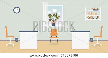 Interior Of Working Place In The Office On The Light Grey Background. Vector Illustration. Furniture