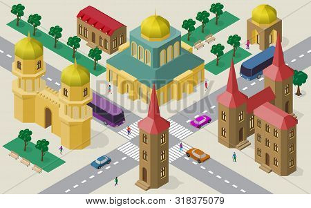 Isometric Cityscape Of Buildings, Streets, Temple, Roadway, Cars, Buses And People.