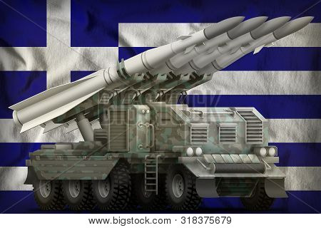 Tactical Short Range Ballistic Missile With Arctic Camouflage On The Greece Flag Background. 3d Illu