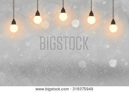 Wonderful Shining Abstract Background Glitter Lights With Light Bulbs And Falling Snow Flakes Fly De