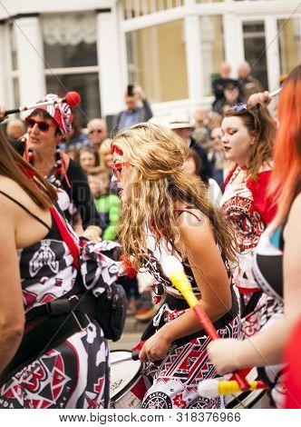 Llandudno, North Wales- 29th April 2017: Performers Of The Batala Mersey Carnival Band In Llandudno
