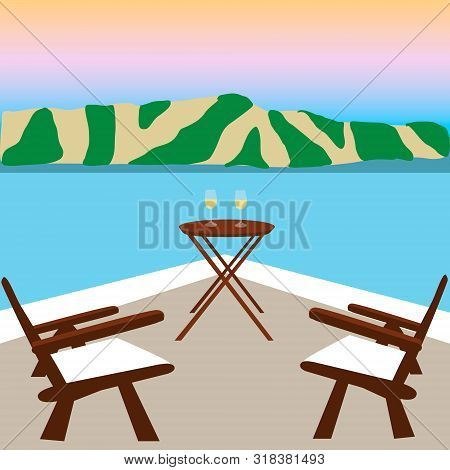 Two Wooden Chairs On Balcony With Breathtaking View On Seafront. Sunset On The Seafront. Glassy Blue