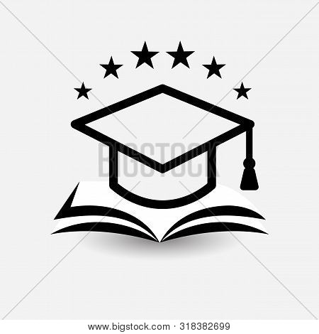 Education Vector Logo. Open Book, Dictionary, Textbook Or Notebook With Graduation Hat Icon. Modern
