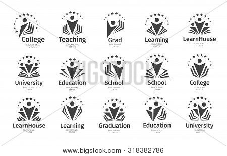 Set Of Education Vector Icon. Open Book, Dictionary, Textbook Or Notebook With Human Icon. Logo Conc