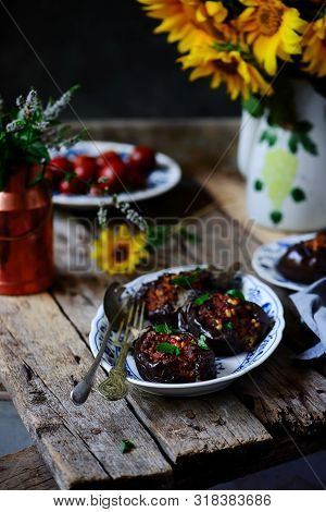 Stuffed Eggplant With Lamb.style Rustic. Selective Focus