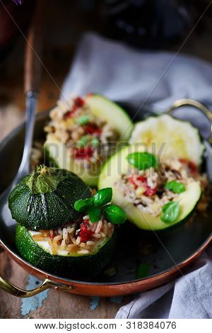 Stuffed Zuccini With Rice..style Rustic. Selective Focus
