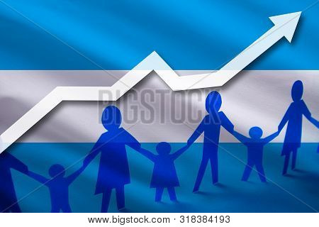 Argentine Flag On A Background Of A Growing Arrow Up And People With Children Holding Hands. Demogra