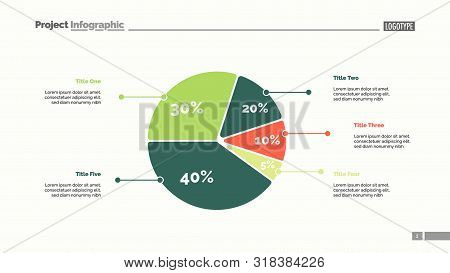 Five sectors pie chart slide template. Business data. Review, assessment, design. Creative concept for infographic, presentation, report. For topics like research, finance, analysis. poster