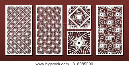 Laser Cut Panels With Abstract Geometric Pattern, Vector Set. Template Or Stencil For Metal Cutting,