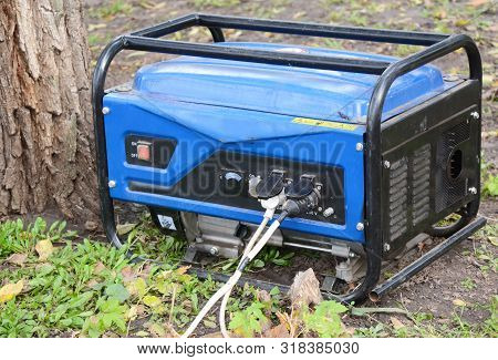 Mobile House Backup Generator Outdoors, Portable Generator For Home Emergency.  Backup Generator Con